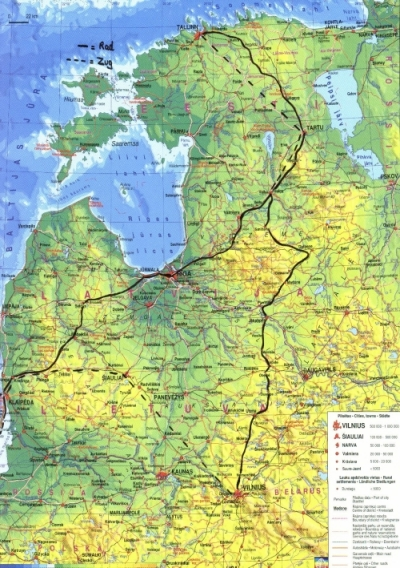 Three Weeks Through The Baltic Region - Lithuania physical map
