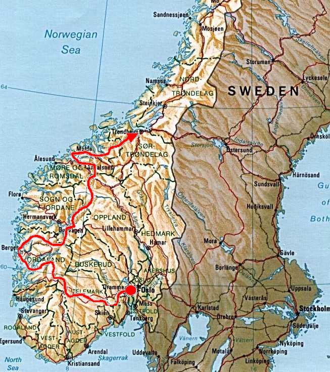 A Norwegian Summers Ride - Norway map mountains