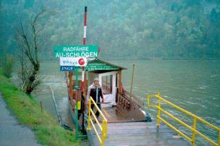 Hans the boatman on the bicycle ferry