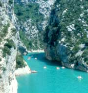 The Verdon river at the mouth into Lac de St. Croix