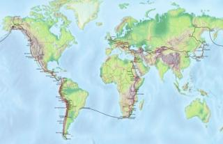 world map with tour route