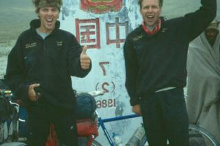 Doug Sage and Alex Tilson at Khunjerab Pass bordering China, Pakistan