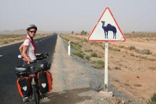 Cycling in Western Sahara.