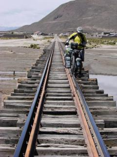 In Bolivia following the railway line sometimes is better then the dirt roads.