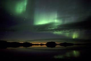 Northern lights above the ``mountain of gods'' Herdhubreidh