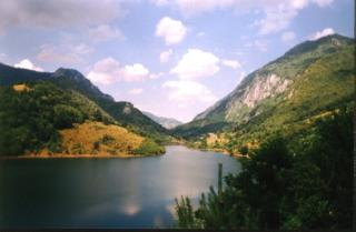 A storage lake on the Cerna Valley not far from the Herculane Spa