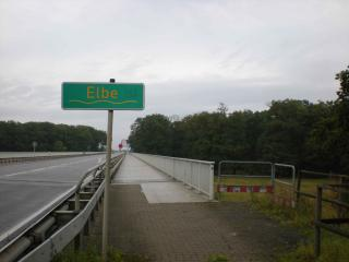 Elbe bridge and sign