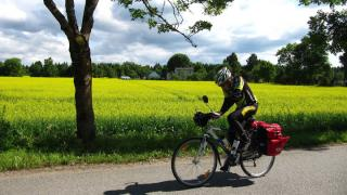 Biking in one of the beautiful roads with few traffic of Estonia