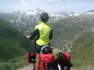Pat looking over at the Grimselpass from the Furka