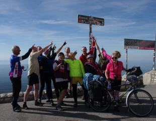 The whole gang and the top of the Ventoux